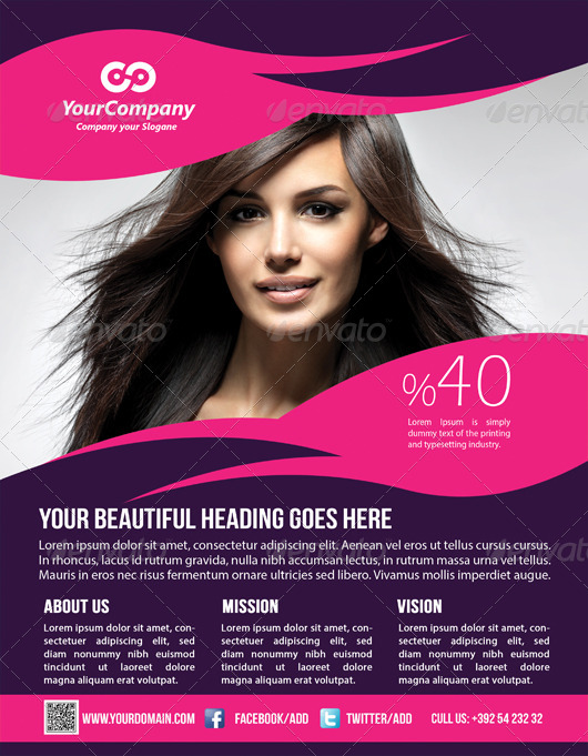 Hair Beauty Salon Business Flyer By Graphicms Graphicriver