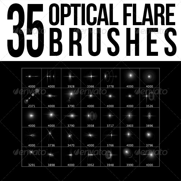 GraphicRiver 35 Optical Flare Brushes 5553256