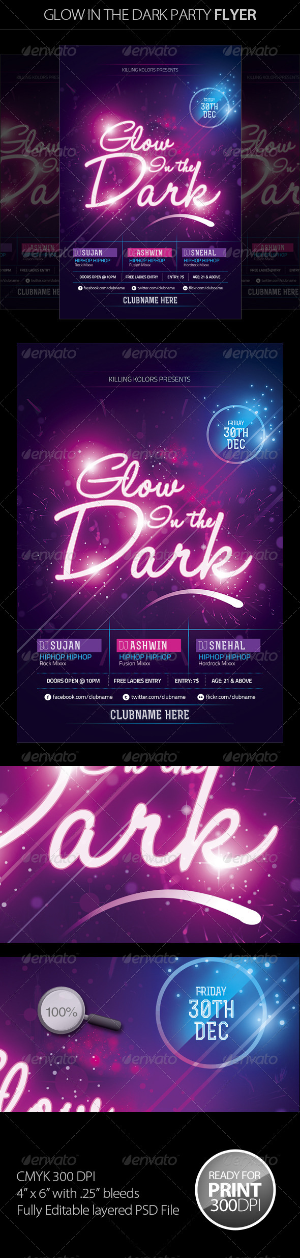 Glow in the Dark Party Flyer II - Clubs & Parties Events