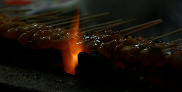 Grilling Satay Close-Up