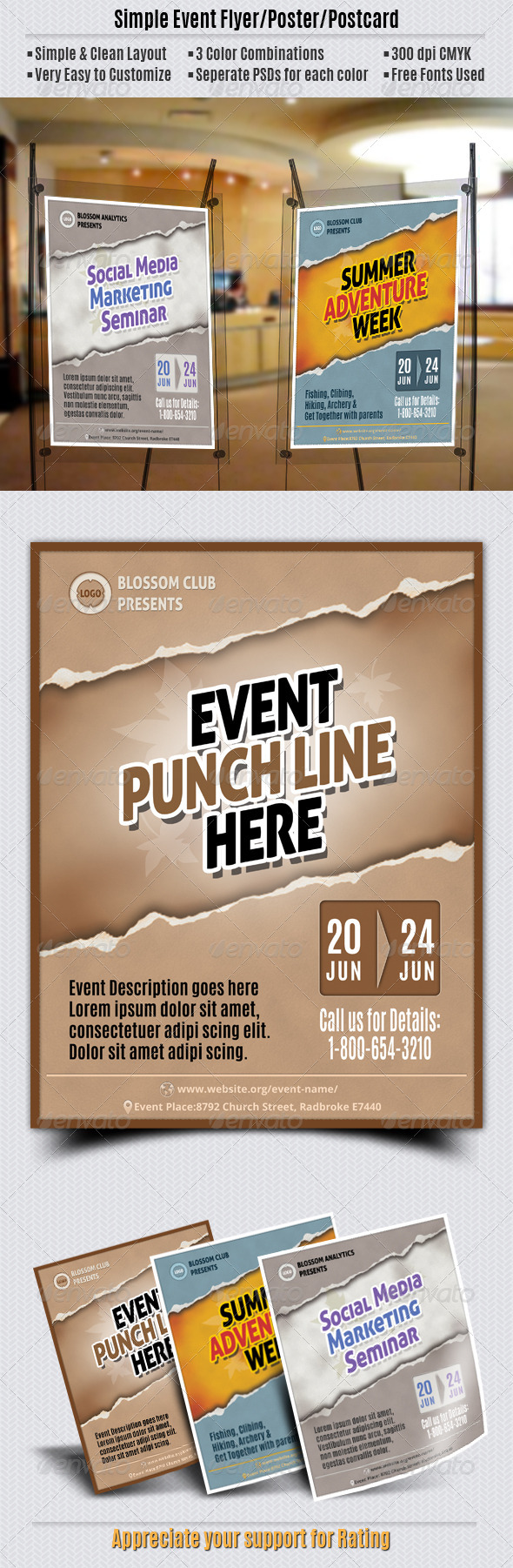 GraphicRiver Simple Event Flyer Poster Postcard 5554363