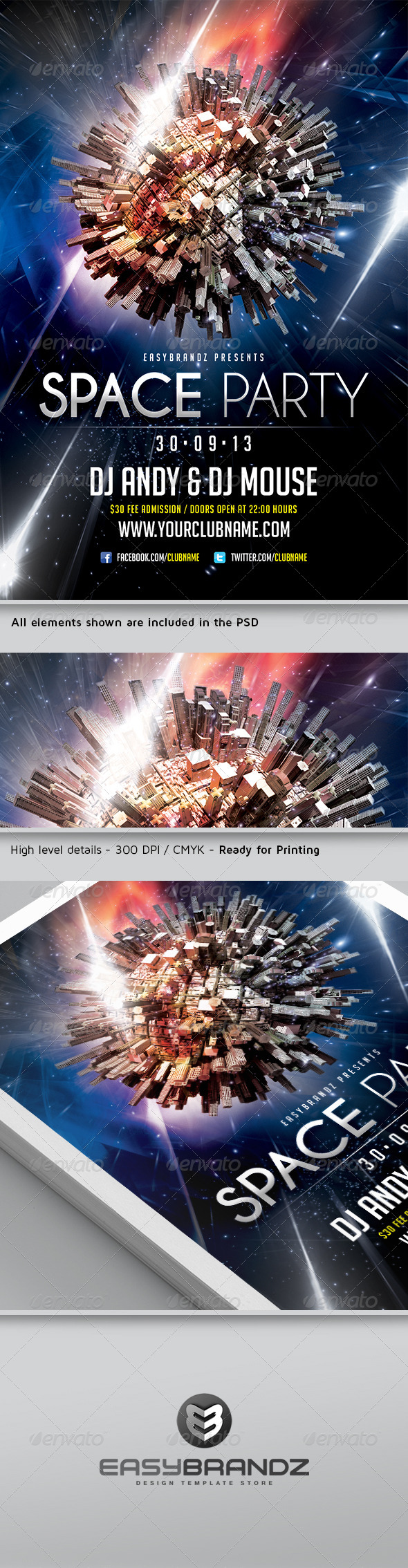 GraphicRiver Space Party Flyer Template 5554729