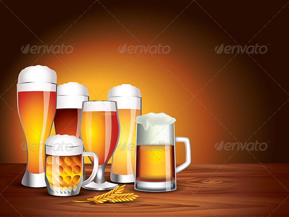 GraphicRiver Beer Glasses on Wooden Table Dark Background 5555242