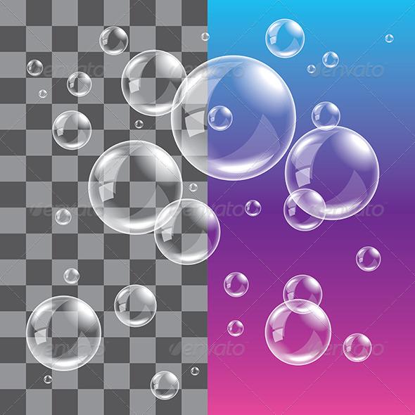 GraphicRiver Transparent Soap Bubbles Photo Realistic Vector 5555246