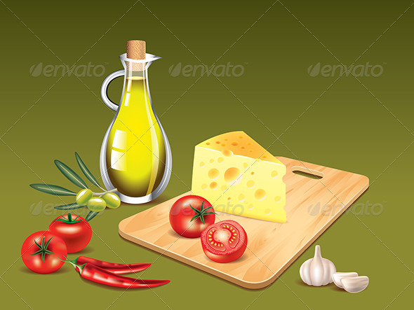 GraphicRiver Food Ingredients on Green Cooking Background 5555359