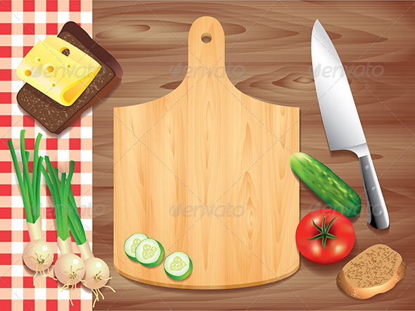 GraphicRiver Cutting Board on Wooden Table with Food 5555362
