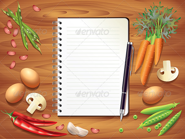 Recipe Book On Wooden Table Food Ingredients Graphicriver
