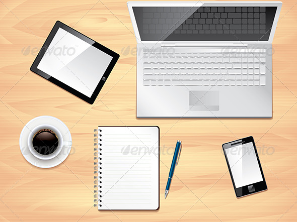 GraphicRiver Office desk top view photo realistic vector 5555365