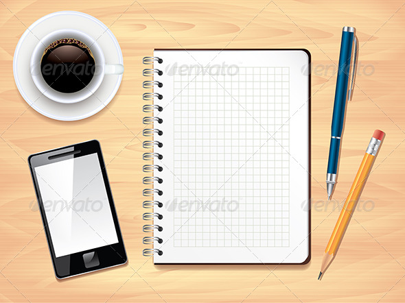 GraphicRiver Notepad on Office Desk Top View Vector 5555366