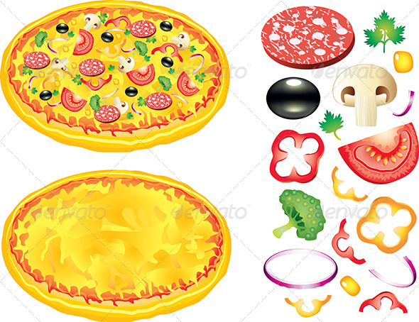GraphicRiver Pizza and Ingredients Vector Illustration 5555378