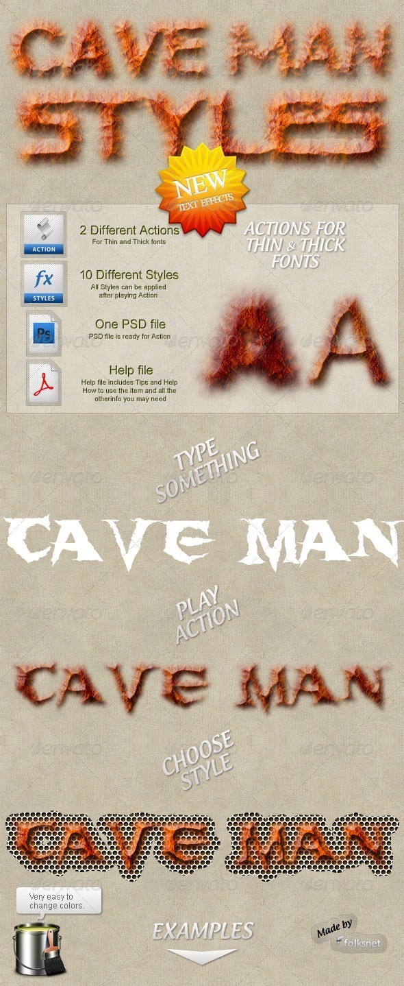 Cave Man Styles - Text Effects Styles