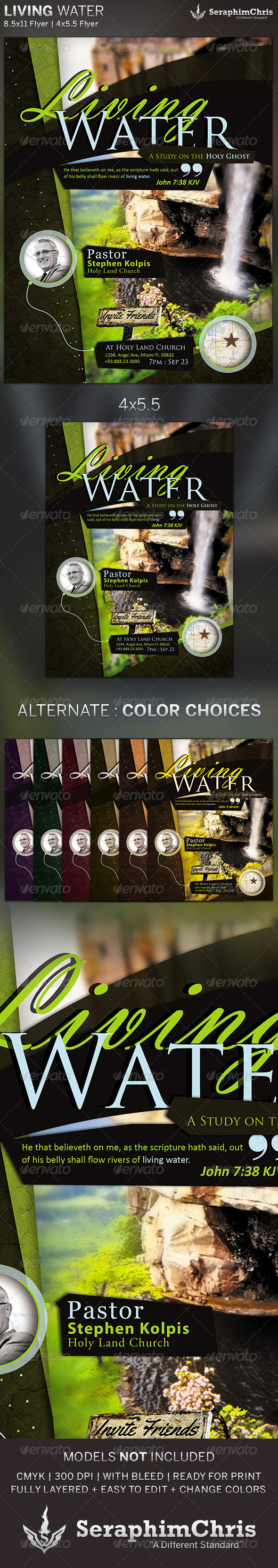 GraphicRiver Living Water Church Flyer Template 5556491