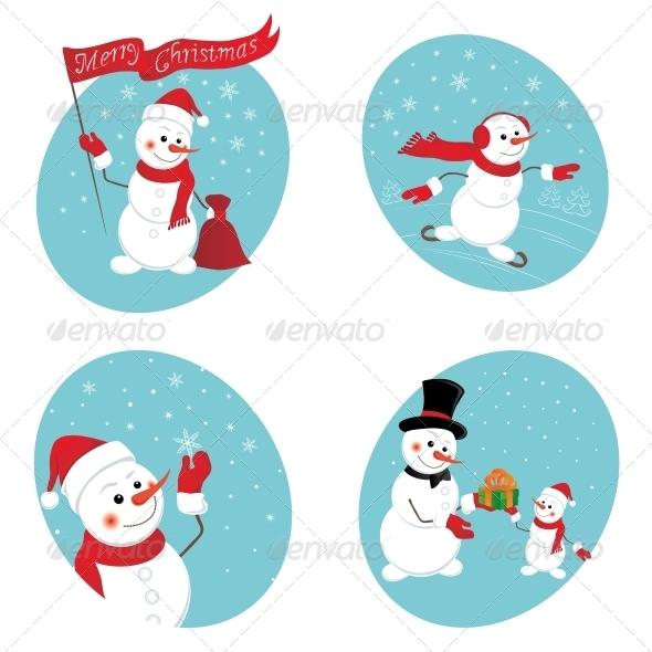 GraphicRiver Snowman Gives a New Year Gift 5556770