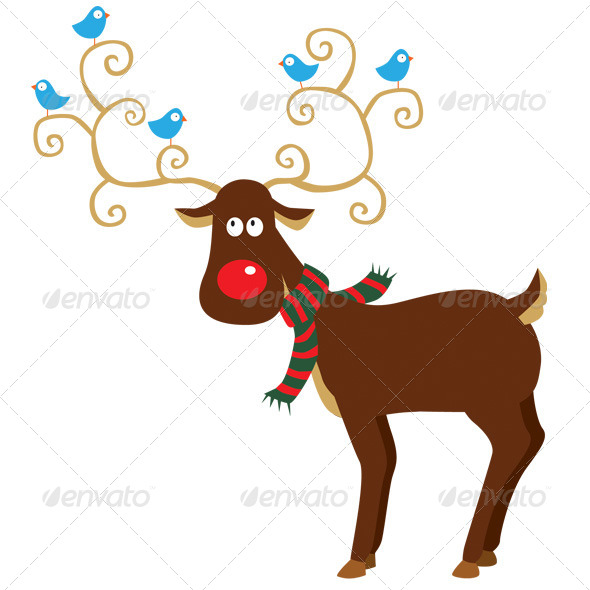 GraphicRiver Twitter Birds on Reindeer 5556894