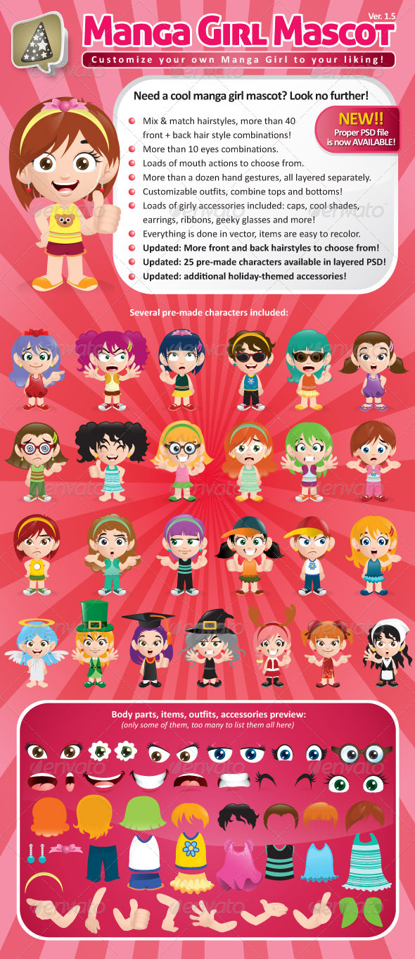 Manga Girl Mascot Creation Kit - Characters Vectors