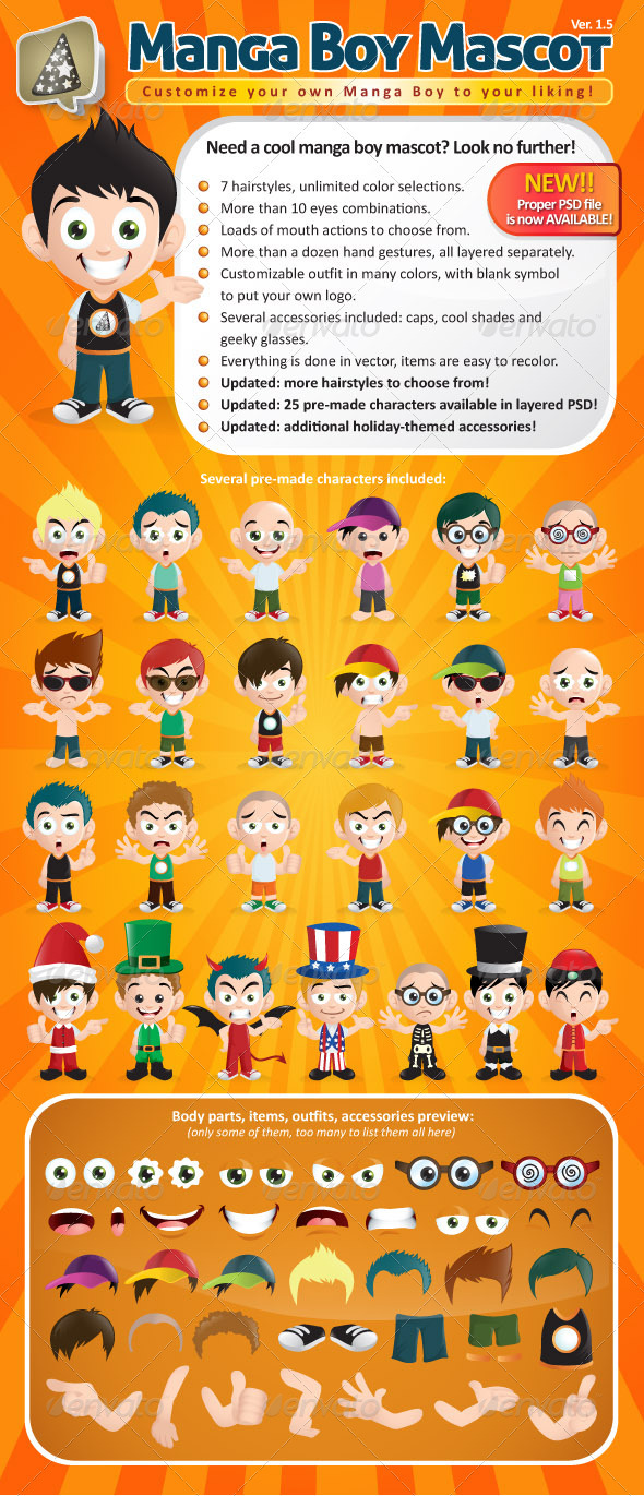 Manga Boy Mascot Creation Kit - Characters Vectors