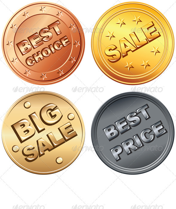 GraphicRiver Set gold silver bronze price tag and sale signs 571830