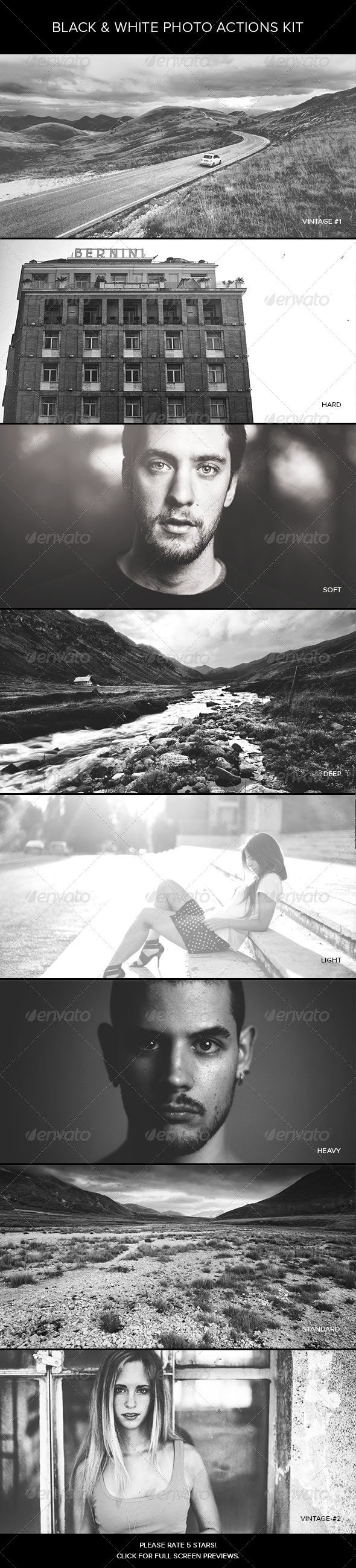 Black & White Photo Actions Kit - Photo Effects Actions