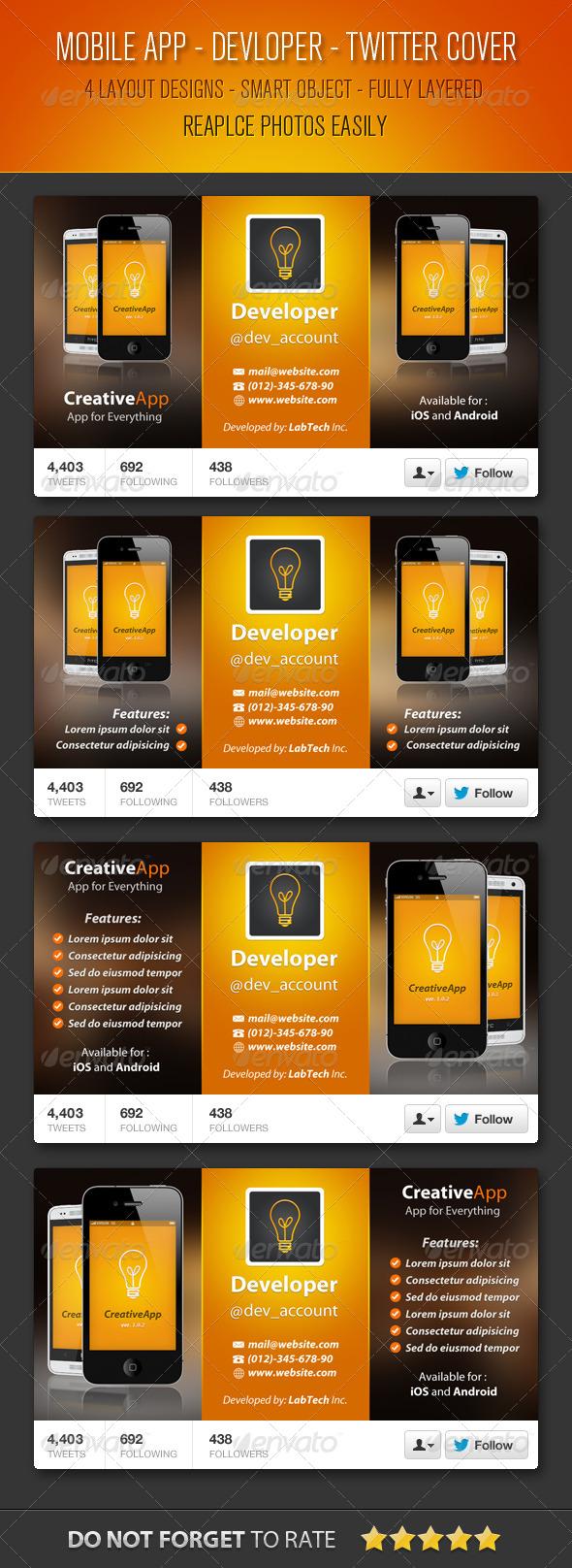 GraphicRiver Mobile App Developer Twitter Cover 5528777