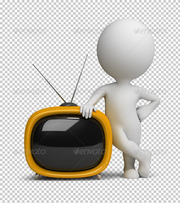 3D Small People Retro TV