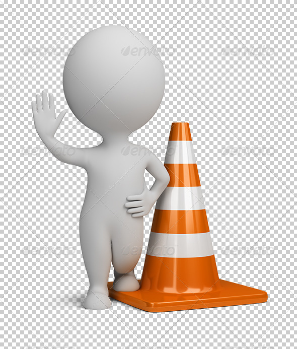 GraphicRiver 3D small people traffic cone 5557588