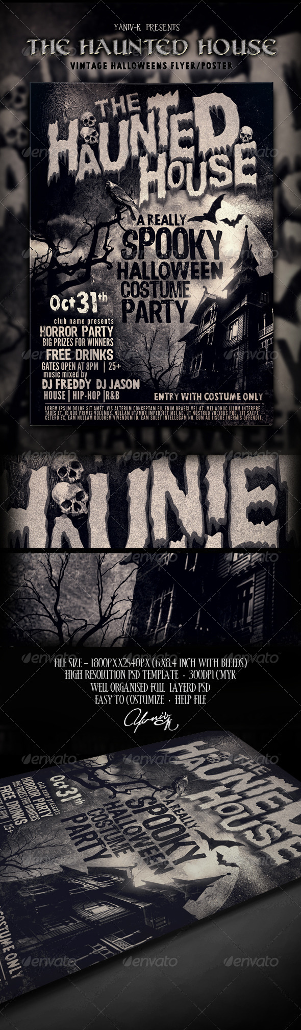 The Haunted House Flyer Template - Holidays Events