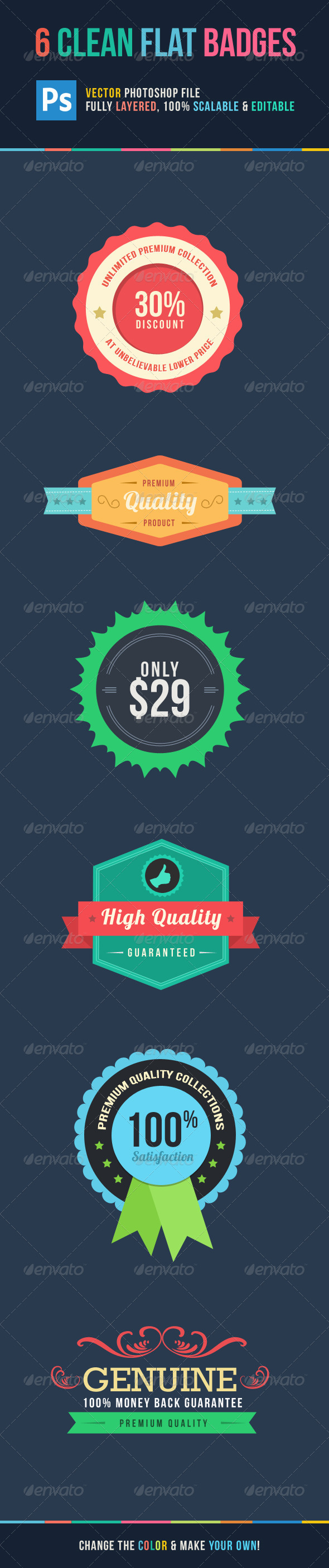 GraphicRiver 6 Clean Flat Badges 5532729