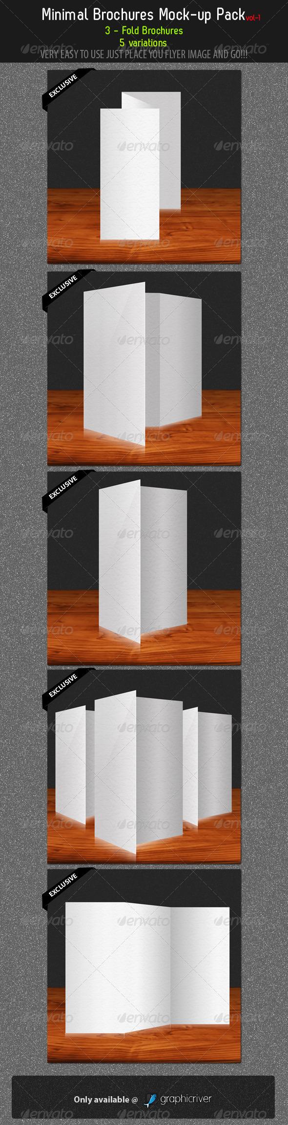Graphic River Minimal Brochures Mock-up Pack 1 Graphics -  Product Mock-Ups  Print 292245