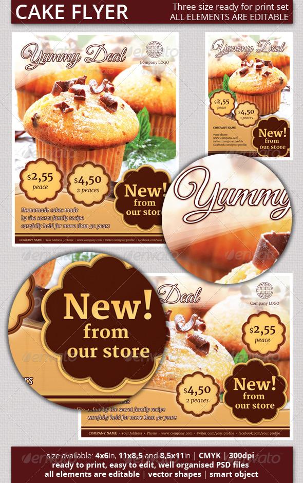 GraphicRiver Cake Flyer Set 5530932