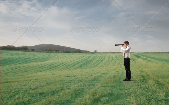 Spy in a Field - Stock Photo - Images