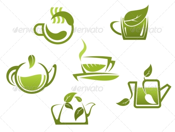 GraphicRiver Green Tea Symbols and Icons 5560230