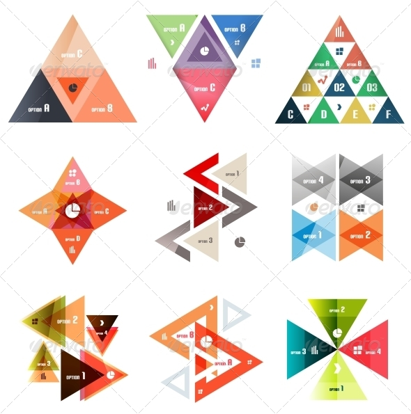 Set of Abstract Triangle Modern Templates - Web Elements Vectors