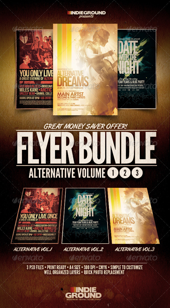 Alternative Flyer/Poster Bundle Vol. 1-3 - Clubs & Parties Events