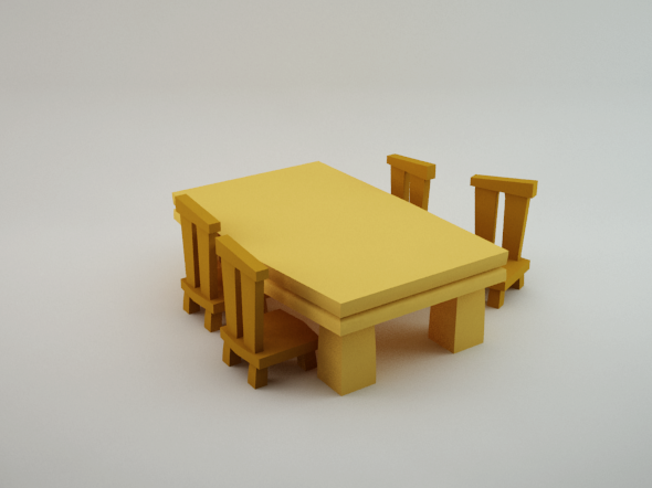 3DOcean Table and Chairs Lowpoly 5561273