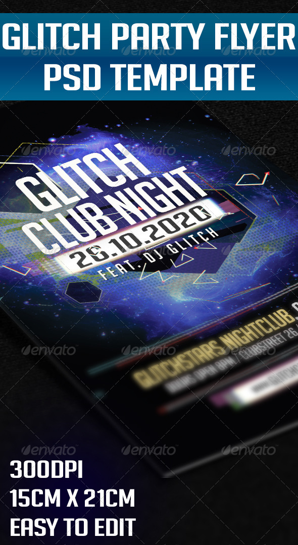 GraphicRiver Glitch Party Flyer 5538685