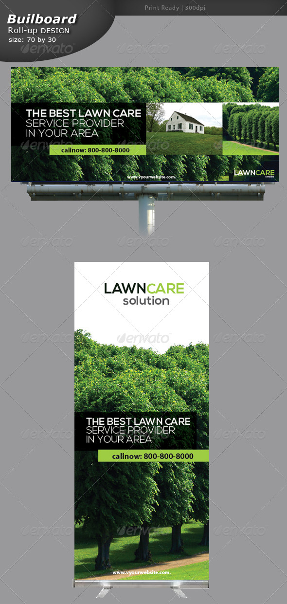 Lawn Care Billboard and Roll-up