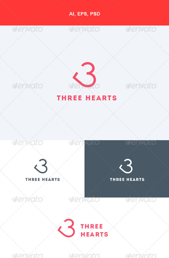 GraphicRiver Three Hearts Logo 5551633