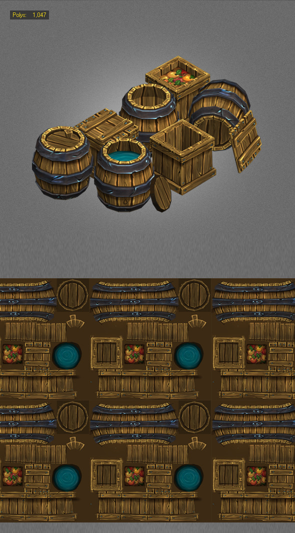 Wood Box Barrels Lowpoly