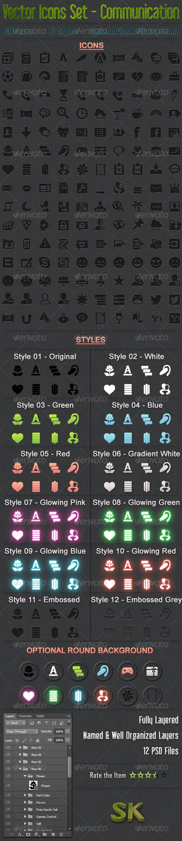 GraphicRiver 150 Vector Icons Communication 5562428