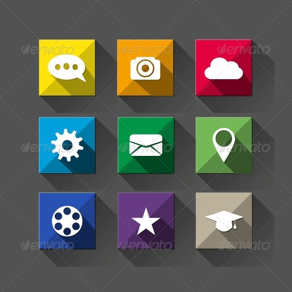 GraphicRiver Long Shadow Flat Icons 5562504