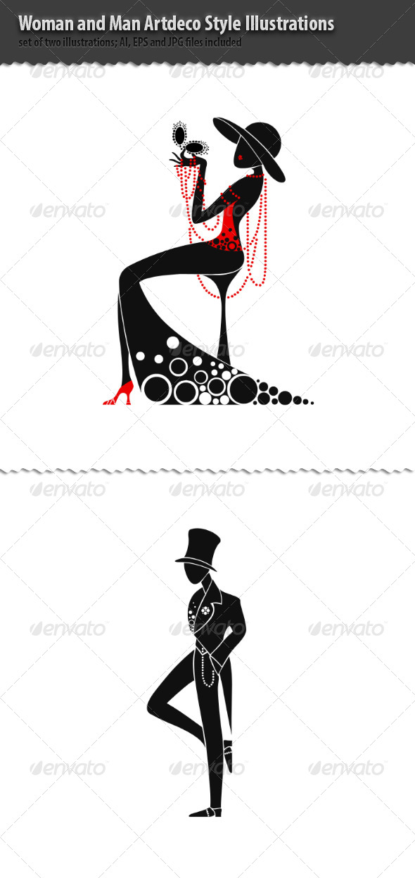 Woman and Man Artdeco Style Illustrations