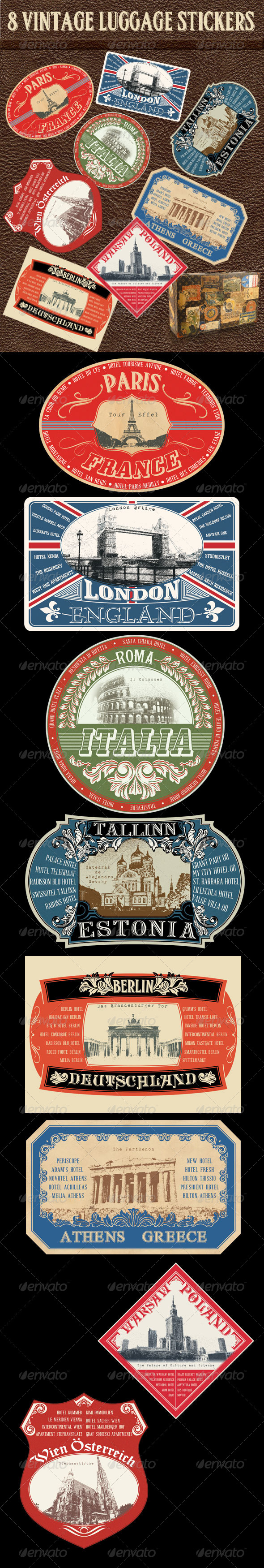 GraphicRiver 8 Vintage Luggage Stickers 5562736