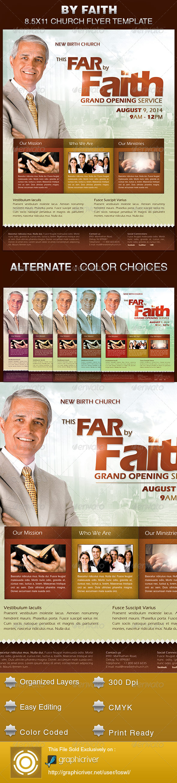By Faith Church Grand Opening Flyer Template - Church Flyers