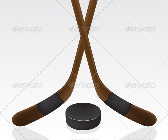 GraphicRiver Hockey Puck and Stick 5563425