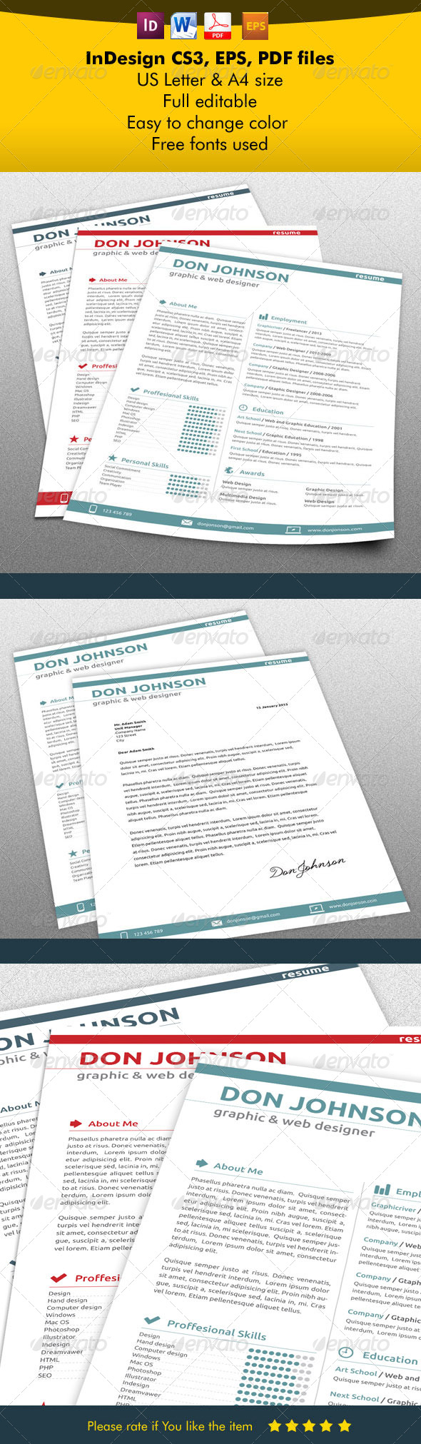 GraphicRiver Modern Resume & Letter 5542819