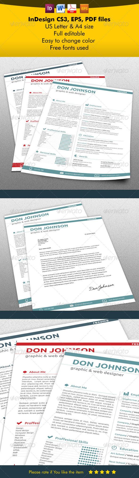 Modern Resume & Letter  - Print Templates