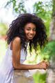 Outdoor portrait of a teenage black girl - African people