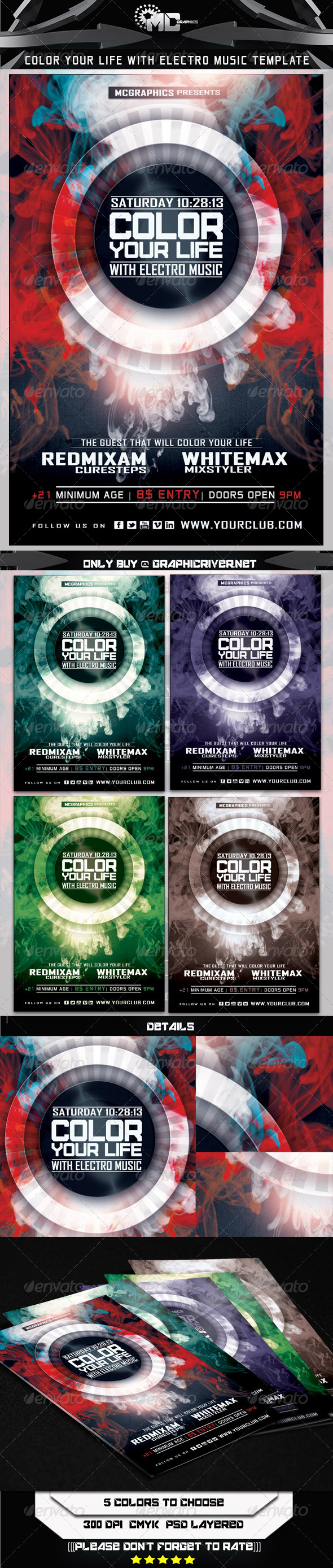 Color Your Life With Electro Music Flyer Template - Events Flyers