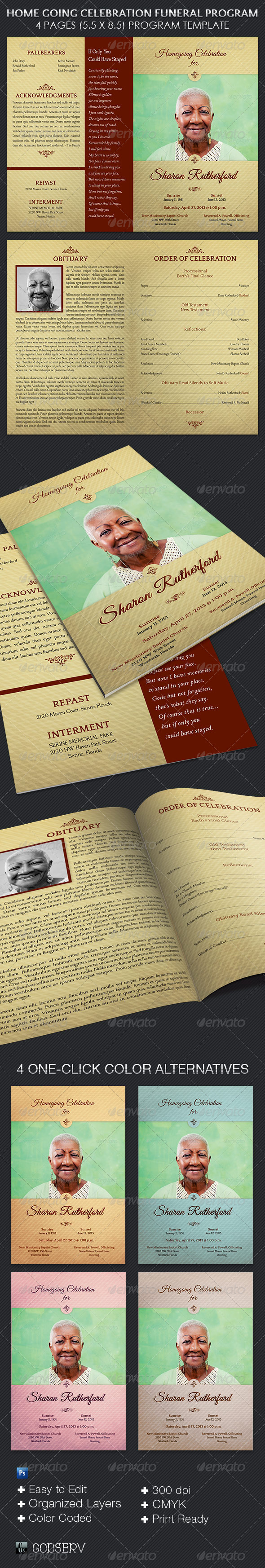 GraphicRiver Home Going Funeral Program Template 5543591