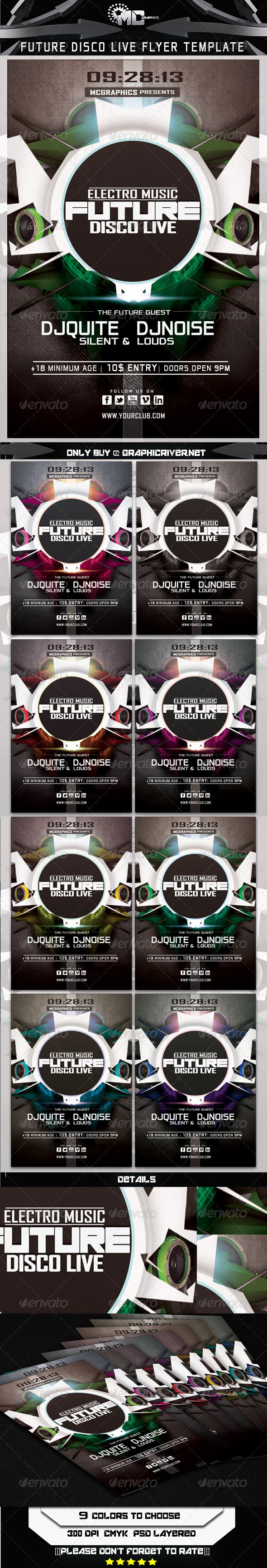 GraphicRiver Future Disco Live Flyer Tempate 5565162